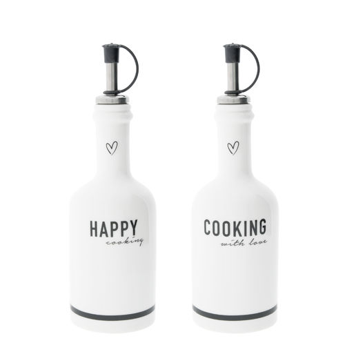 BASTION COLLECTIONS Flasche mit Ausgießer Happy/Cooking Black  6,5x16cm