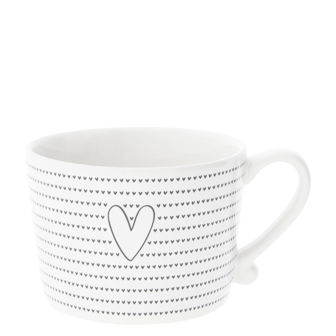 BASTION COLLECTIONS Tasse white little & big hearts in Black 10x8x7cm