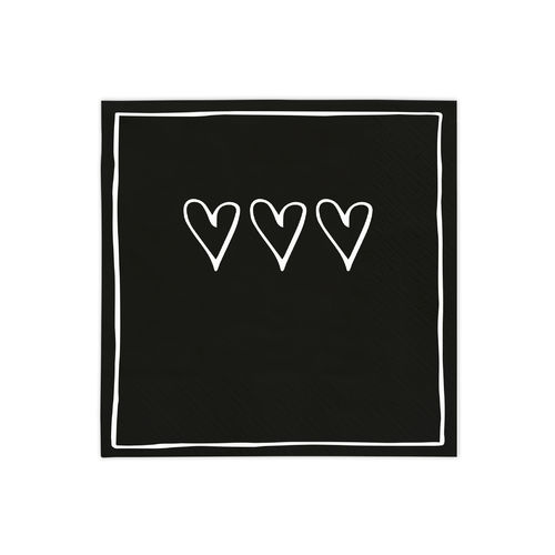 BASTION COLLECTIONS Serviette Black 3 hearts  20 Stk. 12,5x12,5cm