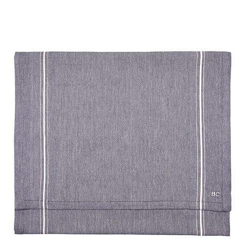 BASTION COLLECTIONS Tischläufer  50x160 cm BlueBlack Chambray/StripeWh-Nat