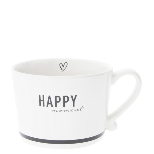 BASTION COLLECTIONS Tasse white Happy in Black 10x8x7cm
