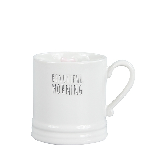 BASTION COLLECTIONS Becher / Tasse small White/Beautiful Morning in Black