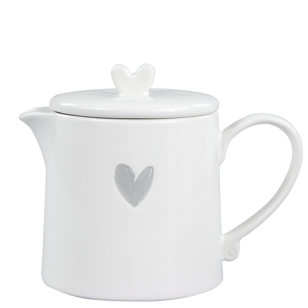 BASTION COLLECTIONS Teekanne Teapot White w. Heart in Grey