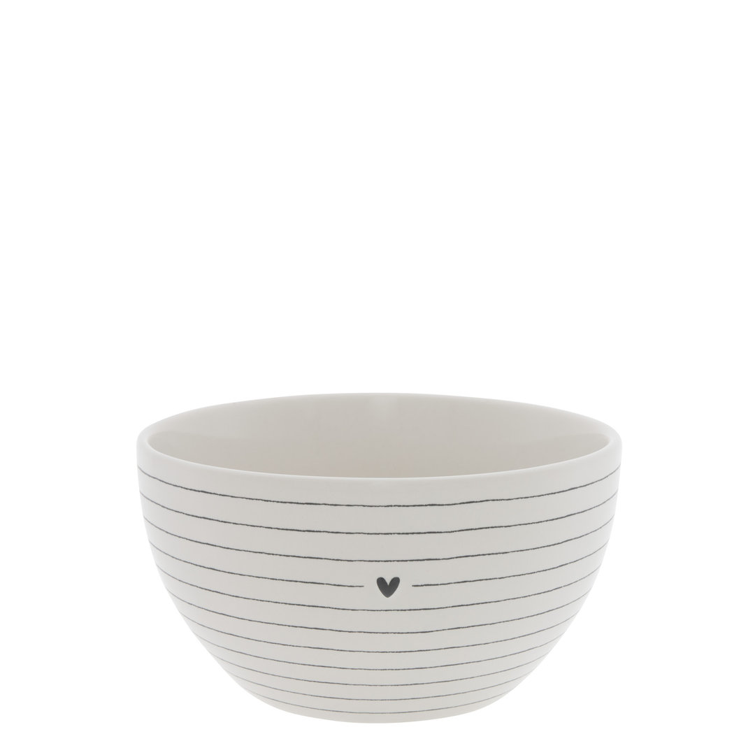 BASTION COLLECTIONS Schale/ Bowl White/Stripes with Heart in Black Dia 13x7cm