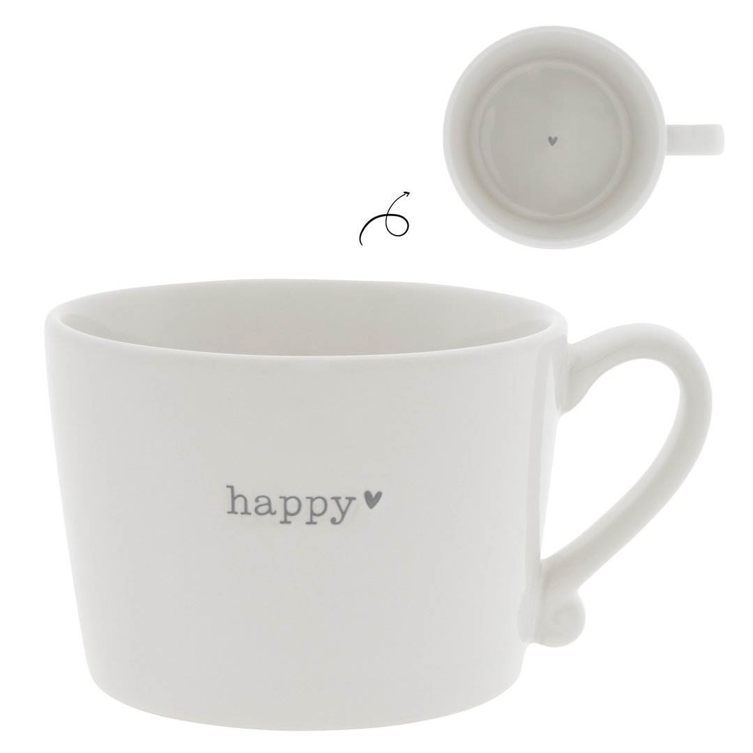 BASTION COLLECTIONS Tasse/Becher/Cup White / Happy in Grey 10x8x7cm