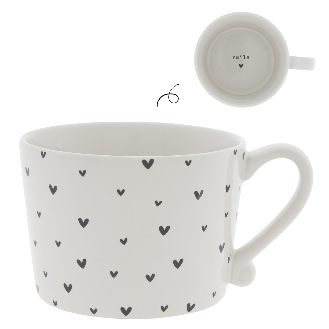 BASTION COLLECTIONS Tasse/Becher/Cup White / little Hearts in Black 10x8x7cm
