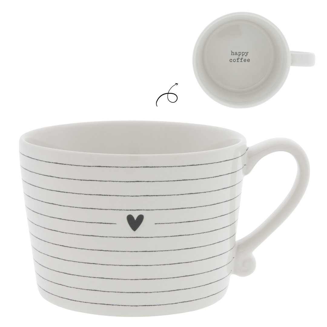 BASTION COLLECTIONS Tasse/Becher/Cup White / Stripes & Heart in Black 10x8x7cm