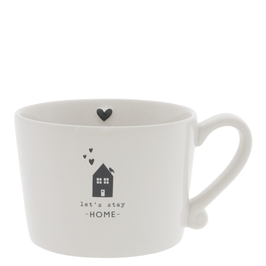 BASTION COLLECTIONS Tasse/Becher/Cup White /let's stay Home in Black 10x8x7 cm