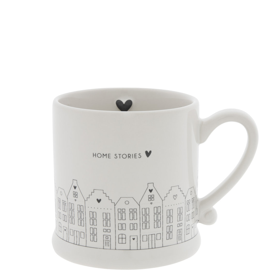 BASTION COLLECTIONS Tasse klein/Becher/Mug White/Canal Houses in Black 8x7cm
