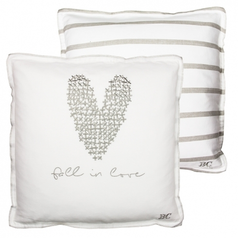 BASTION COLLECTIONS Kissen mit Füllung 50x50cm White/Heart and Fall in Love in Nat.
