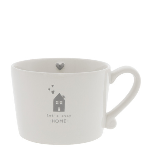 BASTION COLLECTIONS Tasse /Becher/Cup White /let's stay Home in grau 10x8x7 cm